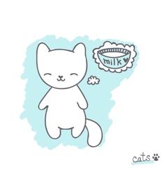 Sketch with kitten vector image