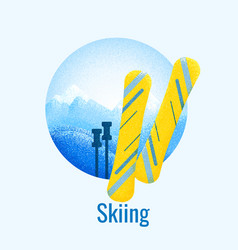 skiing retro banner vector image