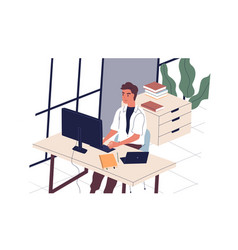 smiling man sitting at desk and working on vector image