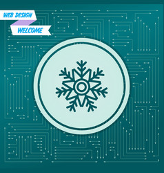 snowflake icon on a green background with arrows vector image
