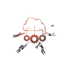 software is a service saas concept sketch hand vector image