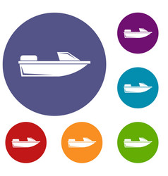 Sports powerboat icons set vector