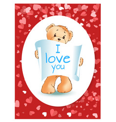teddy bear with recognition valentine card vector image