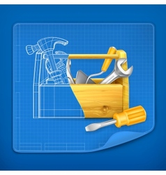 Tool box blue print vector image