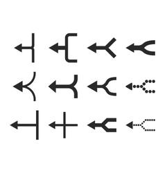 Unite Arrows Left Flat Icon Set vector