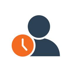 user profile with clock line icon public vector image