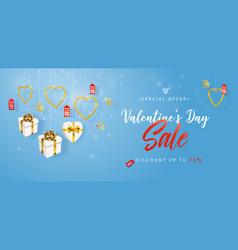 valentines day sale horizontal banner flyer vector image
