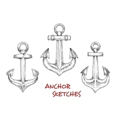 Vintage heraldic nautical anchors sketches vector image
