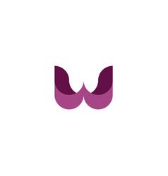 violet purple logo w letter geometric icon symbol vector image