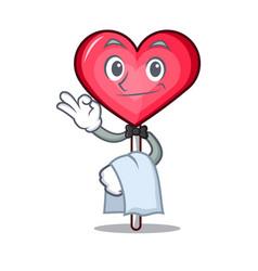 Waiter heart lollipop mascot cartoon vector