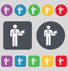 Waiter icon sign A set of 12 colored buttons Flat vector image