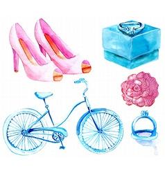 Watercolor Wedding elements collection vector image