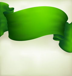 waving green ribbon banner drawing vector image