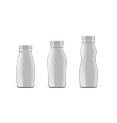 white glossy plastic milk bottle with cap vector image
