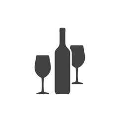 wine bottle and two wineglasses icon isolated vector image