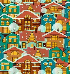 Winter seamless pattern-houses vector