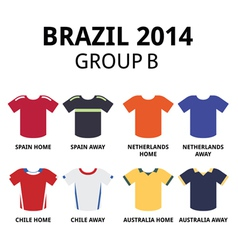 World cup brazil 2014 - group b football jerseys vector