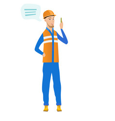 Young caucasian builder with speech bubble vector
