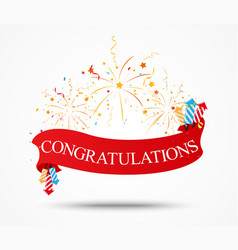 congratulations design with fireworks and ribbon vector image vector image