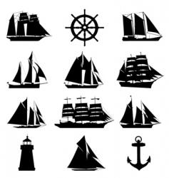 Sailing design elements vector