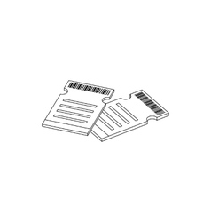 Two cinema tickets icon isometric 3d style vector image