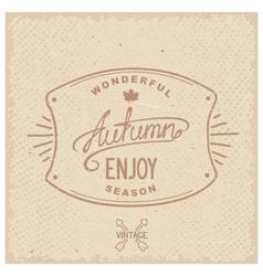 Vintage hipster autumn label vector image