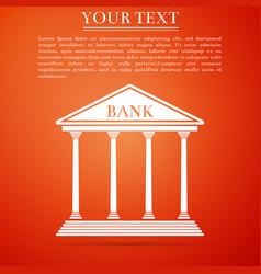 bank building icon isolated on orange background vector image