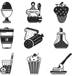 Black icons for breakfast menu vector image vector image