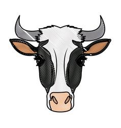 cow head horns aminal rural farm vector image