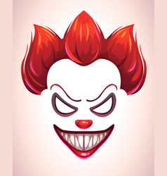 Creepy clown mask vector