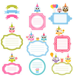 frames and stickers with owls for scrapbooking vector image vector image