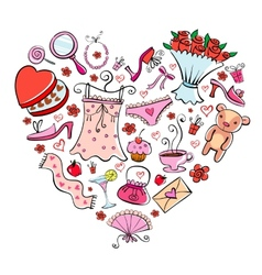 Gift Ideas for girl in heart shape vector image