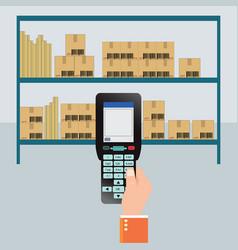 handheld mobile computer in hand vector image vector image