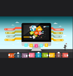 web design concept computer with infographic vector image vector image