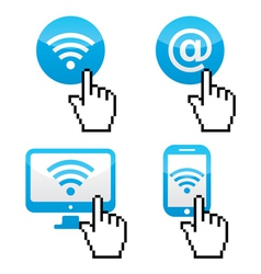 Wifi sumbol with cursor hand icons vector image vector image
