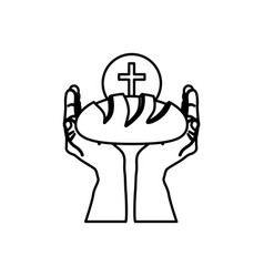 black silhouette of hands holding bread and sphere vector image