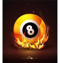 burning billiard ball vector image vector image