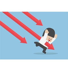 Businessman stabbed by downtrend arrow vector image