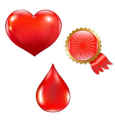 Collection With Blood Drop And Heart vector image vector image