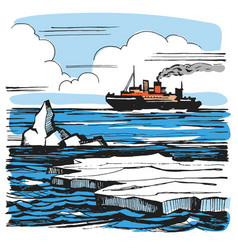 iceberg sketch cartoon landscape vector image vector image