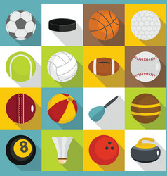Sport balls icons set flat style vector
