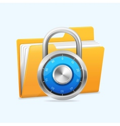 Yellow computer folder and combination lock vector image vector image