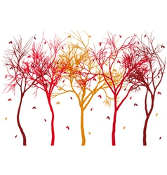 autumn trees with falling leaves vector image vector image