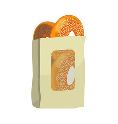 bagels with poppy and sesame seeds in paper vector image vector image