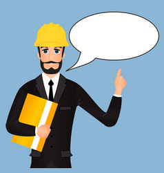 cartoon architect in a helmet with text bubble vector image vector image