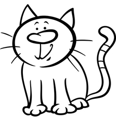 funny cat cartoon coloring page vector image