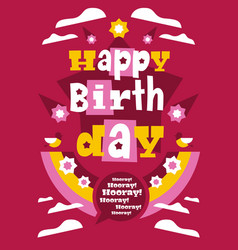 greeting card with happy birthday designed for vector image vector image