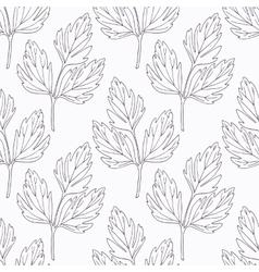 Hand drawn lovage branch outline seamless pattern vector image
