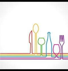 Label for restaurant with kitchen utensils vector image