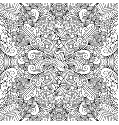 monochrome summer sketching fabric pattern vector image